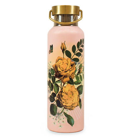 This bright pink 20oz Wander Rose Bottle has Yellow Roses with a golden cap on top.