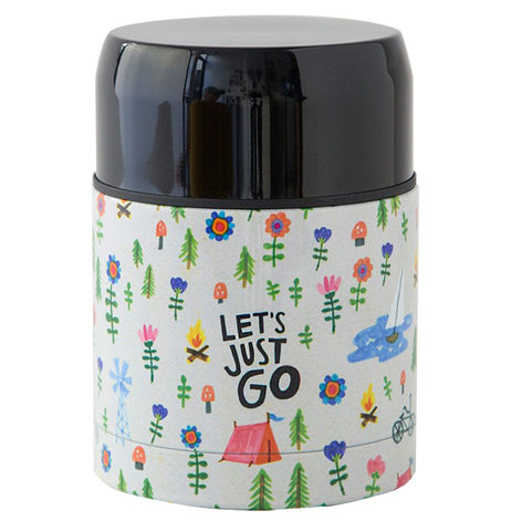 "The Soup Thermos has a message in the center of the camp that says, ""Let's Just Go""."