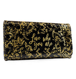 "This ""black gilded flowers"" wallet features gold foil with a message that says,""Love Who You Are""."