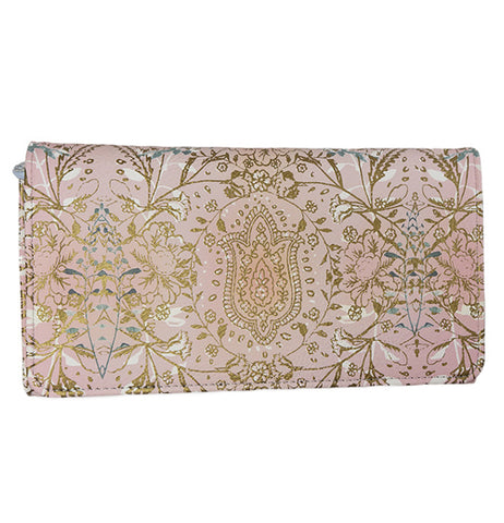 This large pink wallet features a design of golden yellow lotus flowers with a big flower standing in the middle.