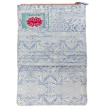 "The inside of the ""Lotus Garden"" wallet is shown to be white with blue lotuses. Above its various slots are the pink, white, and blue tag for ""Papaya""."
