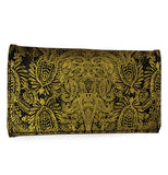 "The Trifold ""Paisley Gold"" Wallet has a paisley gold foil design."