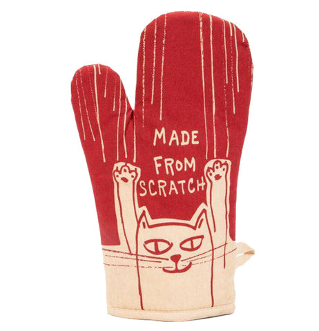 "A red oven mitt shows a cat sliding down the length making scratch marks, as well as features the title ""Made from Scratch."""