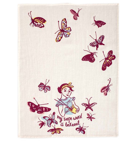 "The  dish towel showing a design of a woman in a blue shirt, eating Chinese food with butterflies surrounding her.  The words ""My safe word is takeout"" are immediately beneath her."