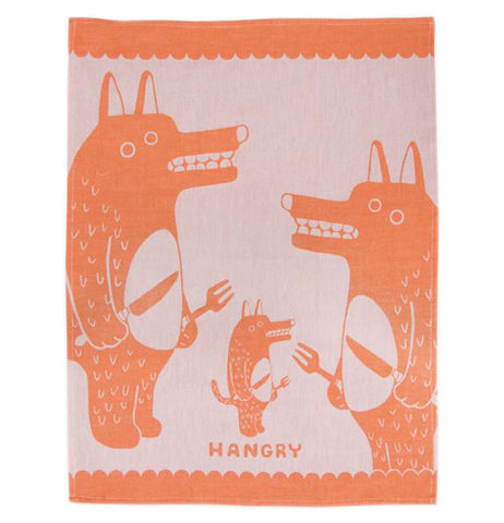 "The ""Hangry"" dish towel has an orange and pink design with three wolves waiting to eat holding knives and forks."