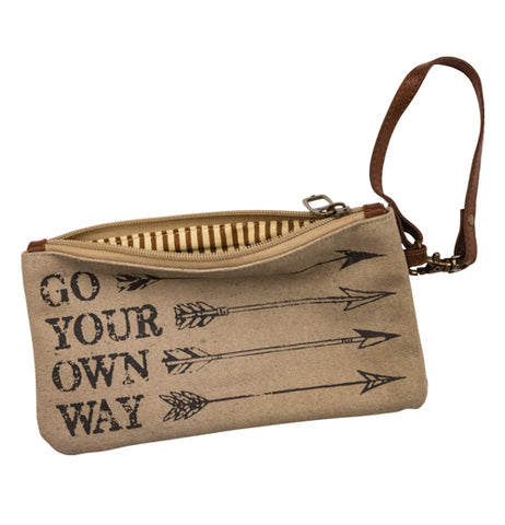 "The Wristlet ""Go Your Own Way"" Wallet features a top zip closure, leather strap with metal clasp, and washed color design."