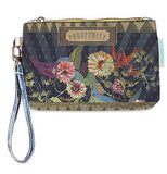 "This wallet says ""Prosperity"" on it with beautiful flowers and birds. It has a wrist band connected to the zipper."