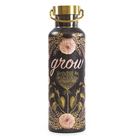 "Black water bottle with gold covered vines, pink puff flowers, and the word ""grow"" in pink."