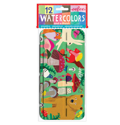 The front of this water color case shows different animals and mushrooms