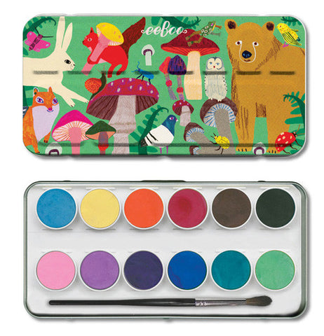 The top of the water color case shows various animals and mushrooms and sits above the bottom half of the case showing various colors in the case.