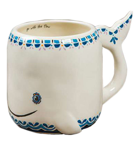 "Ceramic Folk Art Mug Shaped as a Whale that says ""Go with the flow"" on the inner rim in black lettering."