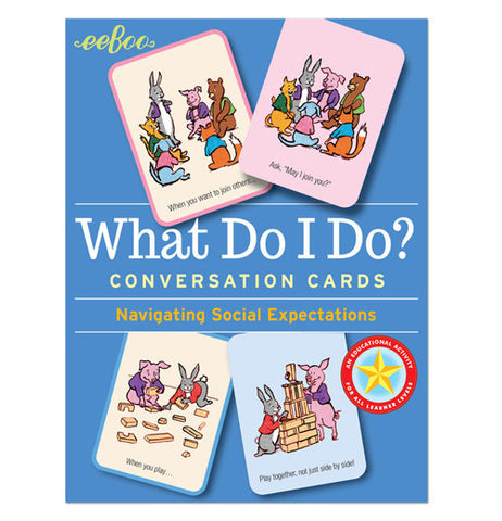 "The ""What Do I Do?"" Conversation Flash Cards has illustrations and instructions on the cards against the blue background."