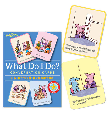 "The ""What Do I Do?"" Conversation Flash Cards has already have two illustrations and instructions on the cards, next to the blue book that are easy to understand."