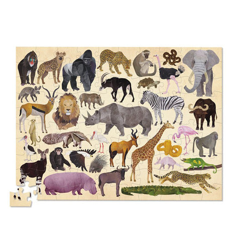 "The pieces of ""36 Wild Animals"" were completed except one and shows 36 different wild animals."