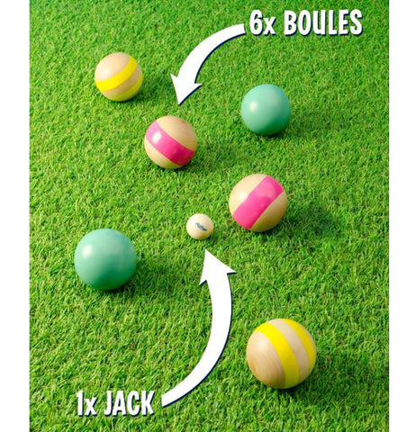 Boules game with six boules and one jack on green fake grass.