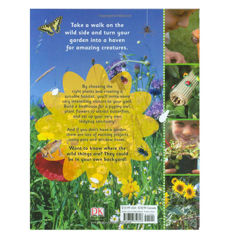 The back cover has pictures of children with plants and insects as well as text describing what is in the book.