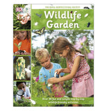 "This green book shows a photograph of a boy and girl planting pink flowers in a garden. To the left of the main photo are different small photos of children in gardens. Above the main photo, in white lettering, are the words, ""Wildlife Gardening""."