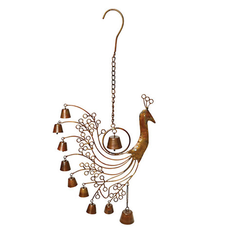 Peacock wind chime with bells and peacock shaped head.