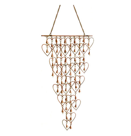 Shimmering Bells with Hearts wind chime with bells inside hearts.