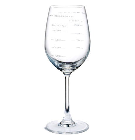"An empty wine glass with measurements on both sides of the glass, one side is in cups the other is in ""sips""."