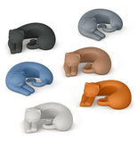 Six cat wine markers in different colors, blue, black, white, orange, brown, and gray, curled up.