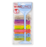 Different colored wine tags each with their own word to describe wines in their packaging.