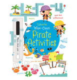 "The ""Wipe-Clean Pirate Activities"" book contains the front page of the boy and girl wearing their pirates hats as well as a black pen."