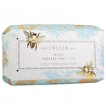 Soap has two bumble bees and blue and gold design.