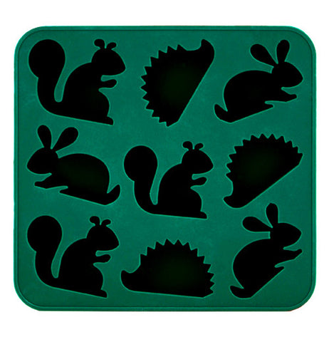 ice tray with molds shaped like different animals, rabbits, squirrels, and hedgehogs.