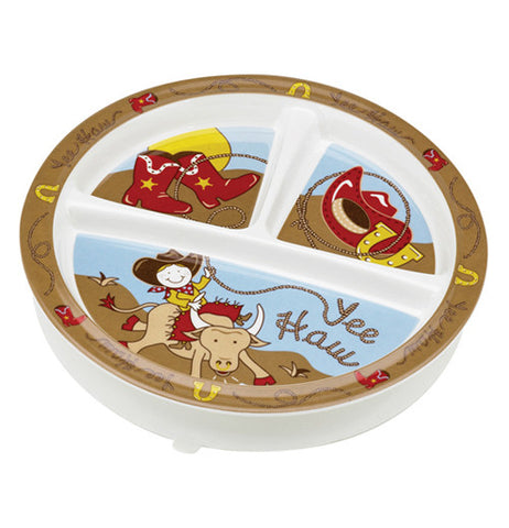 Baby plate with cowboys theme on it.