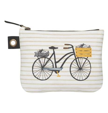 "The Large ""Biciletta"" zip pouch has a black bicycle on it with a basket of newspapers on the front and package of newspaper on the rack on the back."