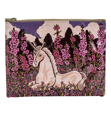 A white unicorn among pink flowers on a zipper pouch.
