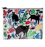 A white zipper pouch covered in various multi-colored plants and black cats