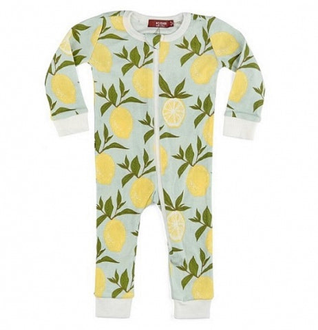 These lemon pajama features a design of yellow lemons over a sky blue background.