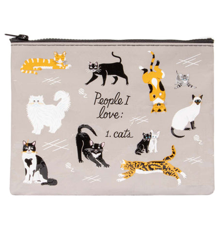 "The ""People I Love Cats"" Zipper Pouch features a message that reads, ""People I love: 1. Cats"" along with print images of cats over a gray background."