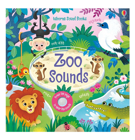 Zoo Sounds of a brown monkey with a white face. the squak of a white bird with a blue face and dark blue wings. a brown lion with a orange mane in a park like setting with a pink sunset.