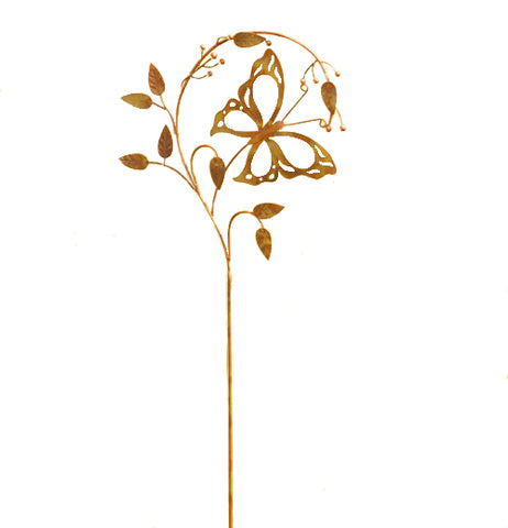 "The Garden Stake ""Butterfly on a Branch"" is designed to look like a butterfly flying amongst branches."