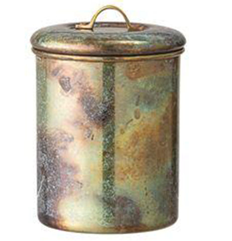 "Canister, Steel ""Round with Oxidized Copper Finish"""