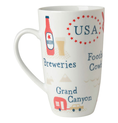 America Mug with famous USA icons