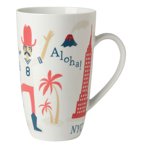 America Mug with famous places in the USA