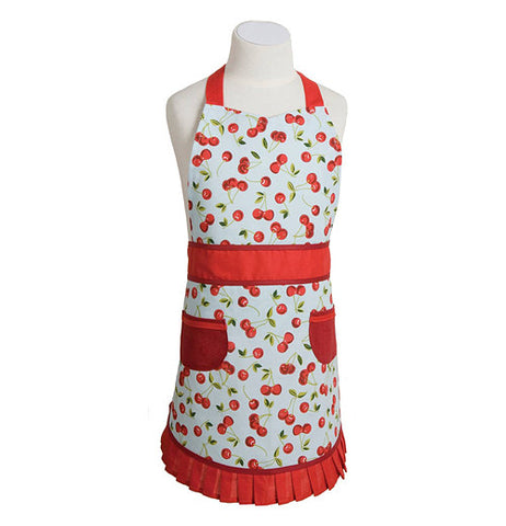 red colored vintage style cherry themed child's apron