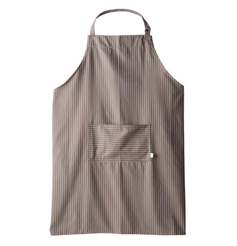 The brown apron has white pinstripes.