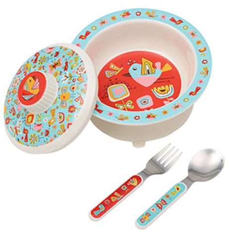 4 piece Baby Bowl Set with birds and butterflies theme. includes a  bowl, lid, spoon and fork