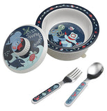 4 piece Baby Bowl Set ocean theme comes with bowl, lid, spoon and fork