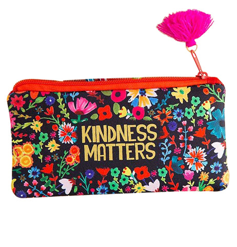"This black pouch has the words, ""Kindness Matters"" in gold lettering surrounded by pink, red, green, blue, and yellow flowers."