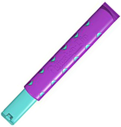 The rectangular purple Adjust-A-Clip on with aqua triangles.