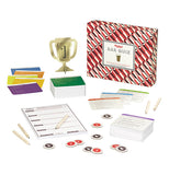 Arrangement of flashcards and score charts with a trophy.