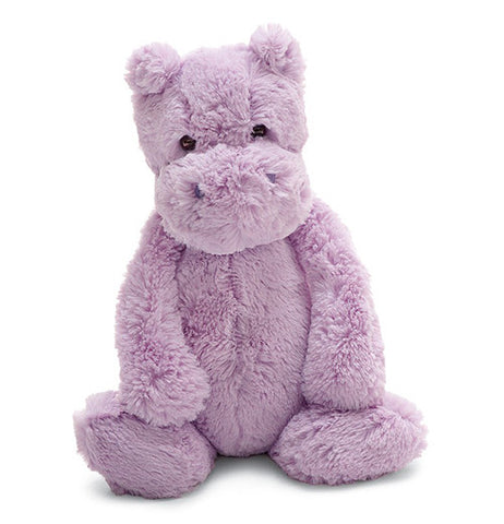 "The Medium, Bashful ""Liac Hippo"" is the softest and floppiest toy hippo you'll ever meet in silky smooth purple fur."