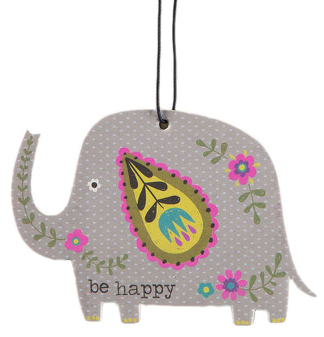 "The Car Air Freshener has the shape of gray elephant with a message  that says ""Be Happy""."