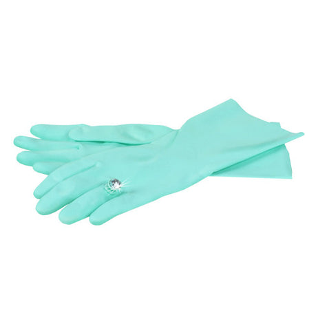 blue dish gloves with a diamond ring on the left ring finger
